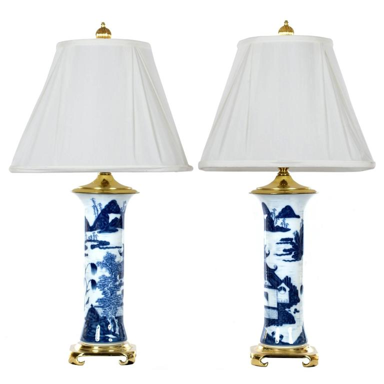 Pair of Chinese Blue and White Gu Vase Table Lamps 1