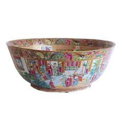 Chinese Export Porcelain Massive Rose Mandarin Punch Bowl