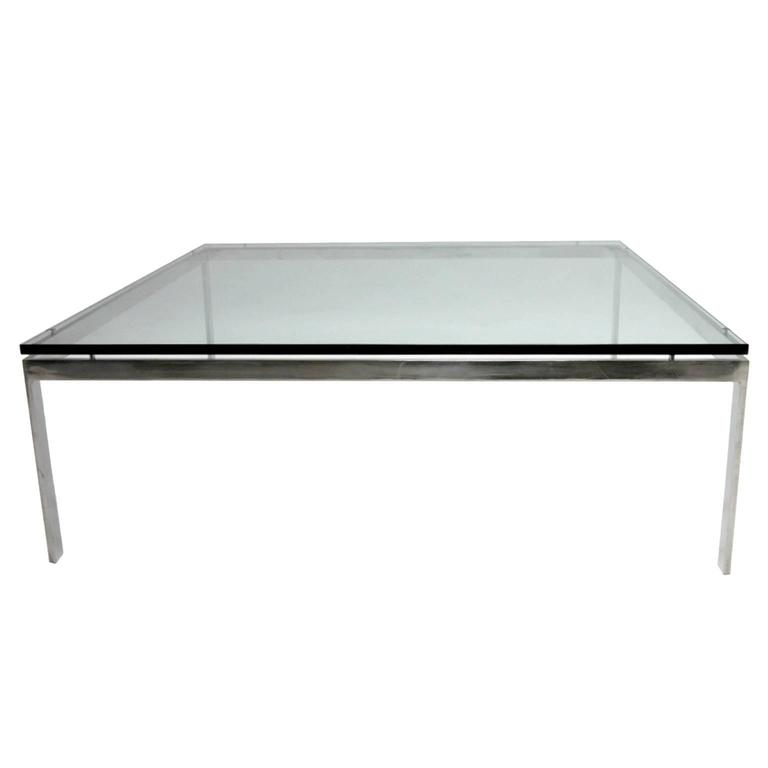 Monumental Steel U0026 Glass Coffee Table By Jacob Epstein For Cumberland  Furniture For Sale