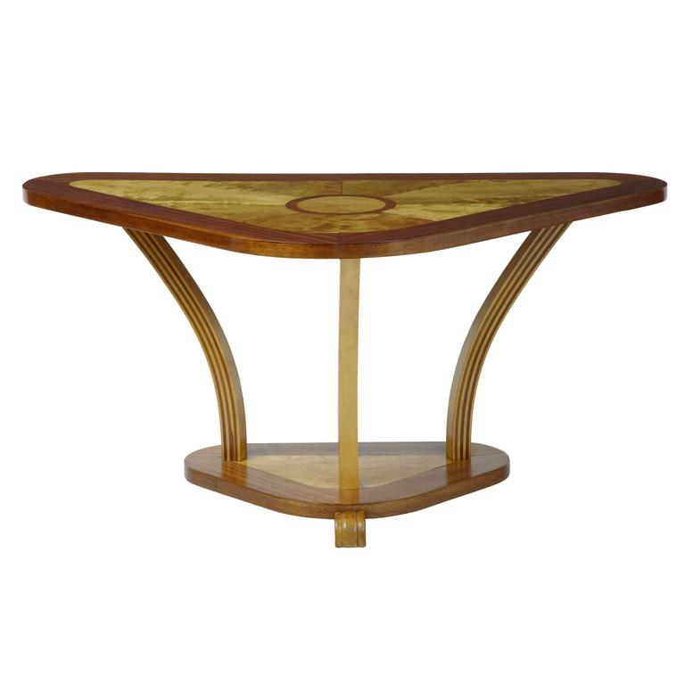 Art Deco 1920s Birch and Mahogany Inlaid Shaped Console Table