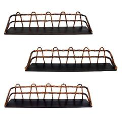 Set of Three Bamboo Wall-Mounted Shelves in the Manner of Jacques Adnet