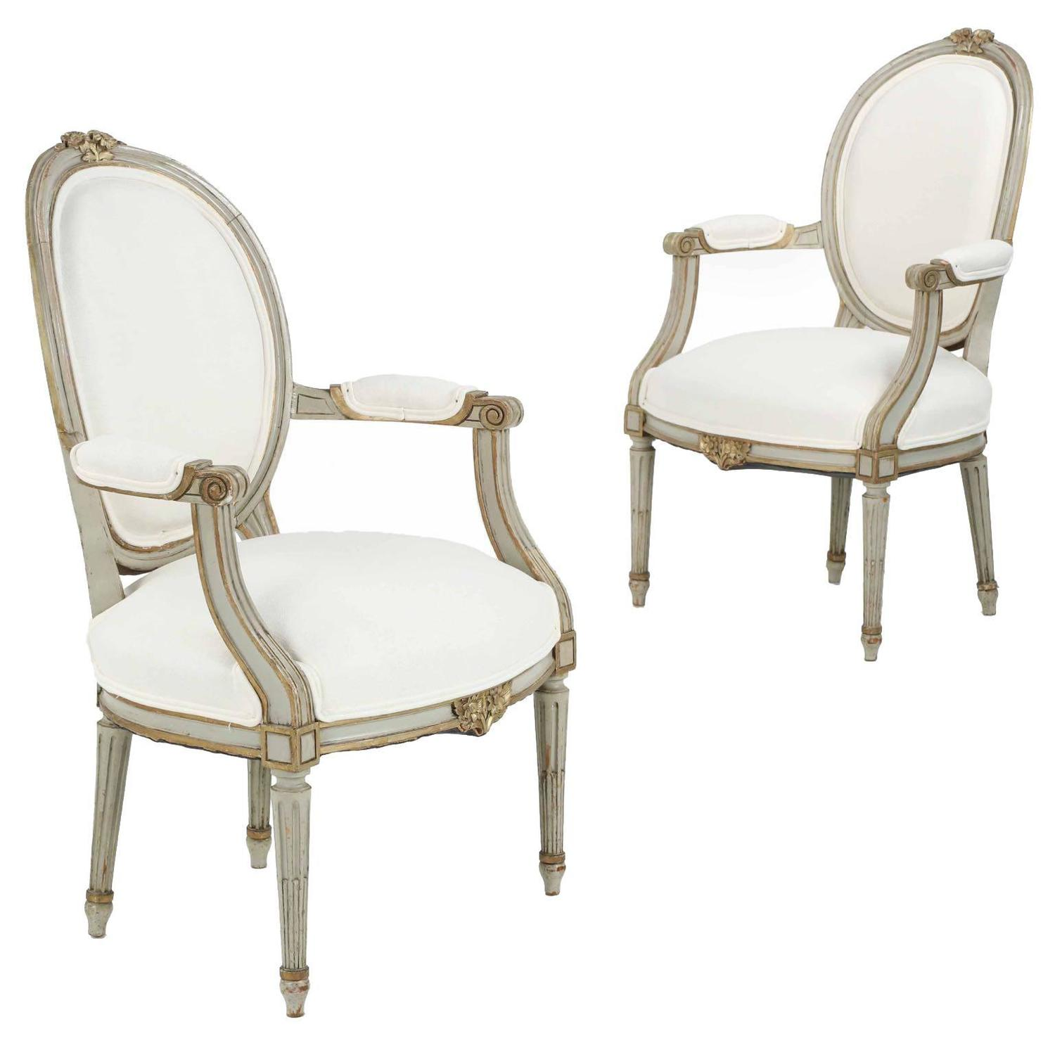 pair of french louis xvi style painted antique fauteuil armchairs at 1stdibs. Black Bedroom Furniture Sets. Home Design Ideas