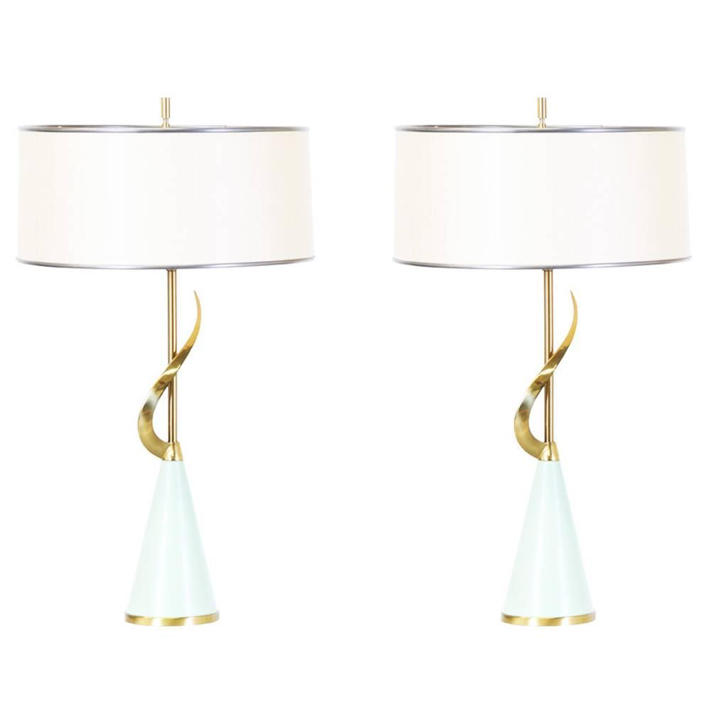 Mid Century Rembrandt Lamp: Pair Of Mid-Century Sculptural Brass Table Lamps By