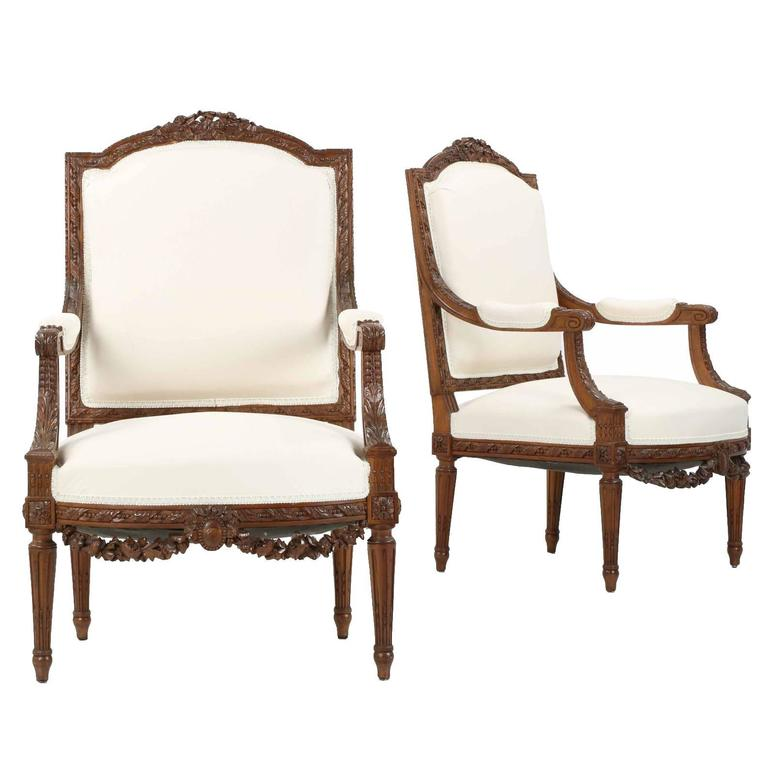 Pair of Carved French Antique Armchairs in Louis XVI Taste, 19th Century  For Sale - Pair Of Carved French Antique Armchairs In Louis XVI Taste, 19th