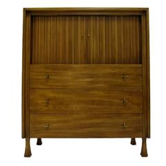 Excellent Tall Mahogany John Widdicomb Gentleman's Chest with Tambour Doors