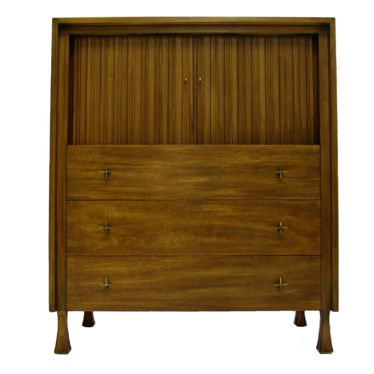Excellent tall mahogany john widdicomb gentleman 39 s chest with tambour doors for sale at 1stdibs - Excellent furniture ...