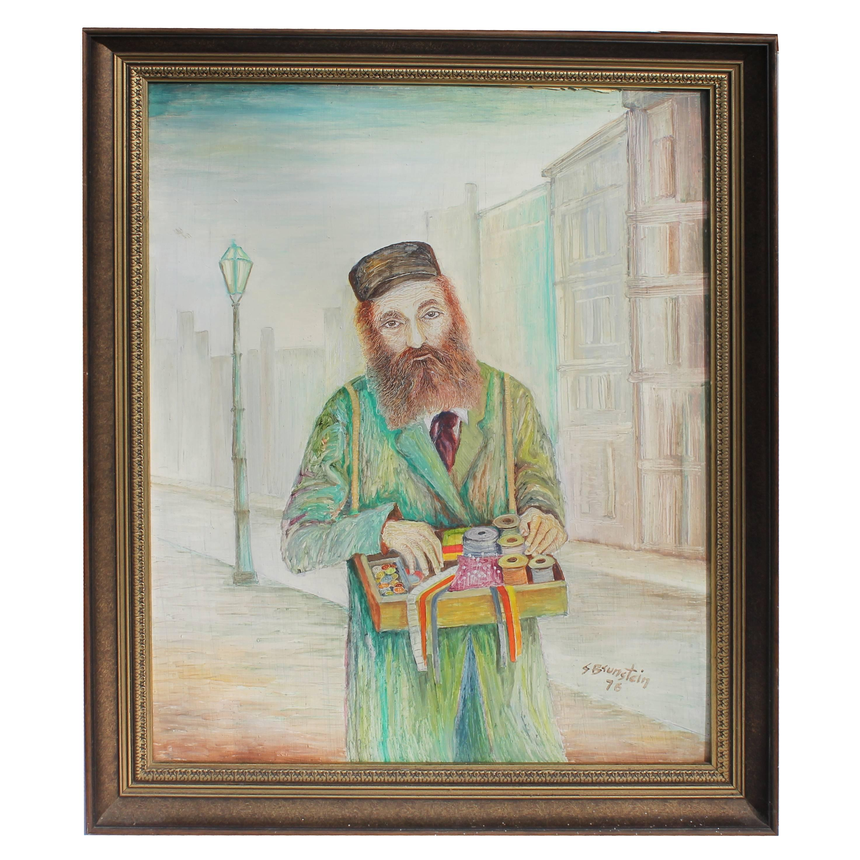 Signed and Dated Oil Painting of Bartering Judaic Man