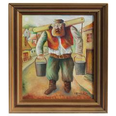 Signed and Dated Oil Painting of a Judaic Lumberjack