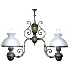 Large Double Arm Oil Lamp, Newly Electrified