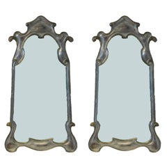 Hollywood Regency Silver gilt Carved Wooden Mirrors A Pair