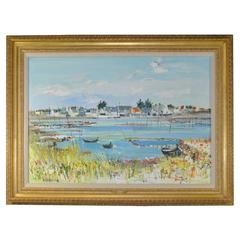 Oil on Canvas of Beach Harbor Scene by Yolande Ardissone