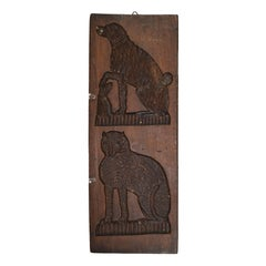 Wooden Gingerbread Mold, Dog and Cat