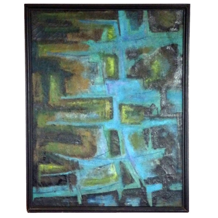 Large Textured Abstract Oil Painting by Robert Berger For Sale