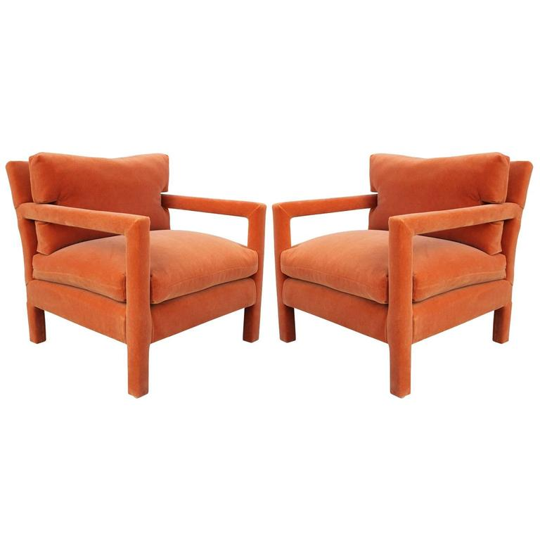 Marvelous Fabulous Pair Of Milo Baughman Parsons Style Chairs In Orange Mohair Velvet  1