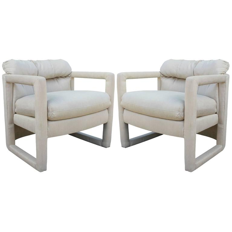 Modern Pair Of Drexel Barrel Back Parsons Chairs In Neutral Fabric For Sale