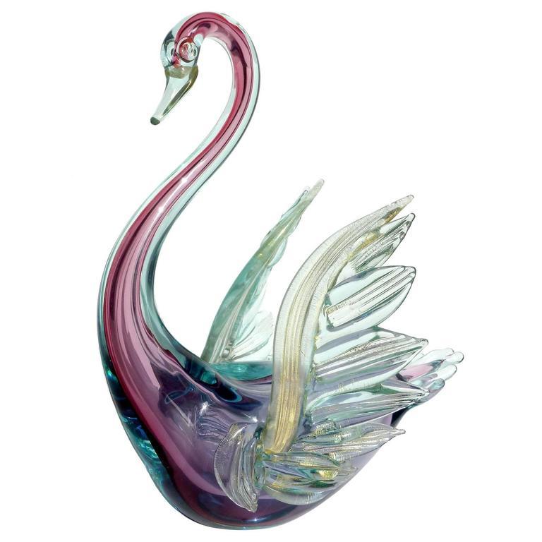 Murano Glass Swans 9 For On 1stdibs, Murano Glass Swan