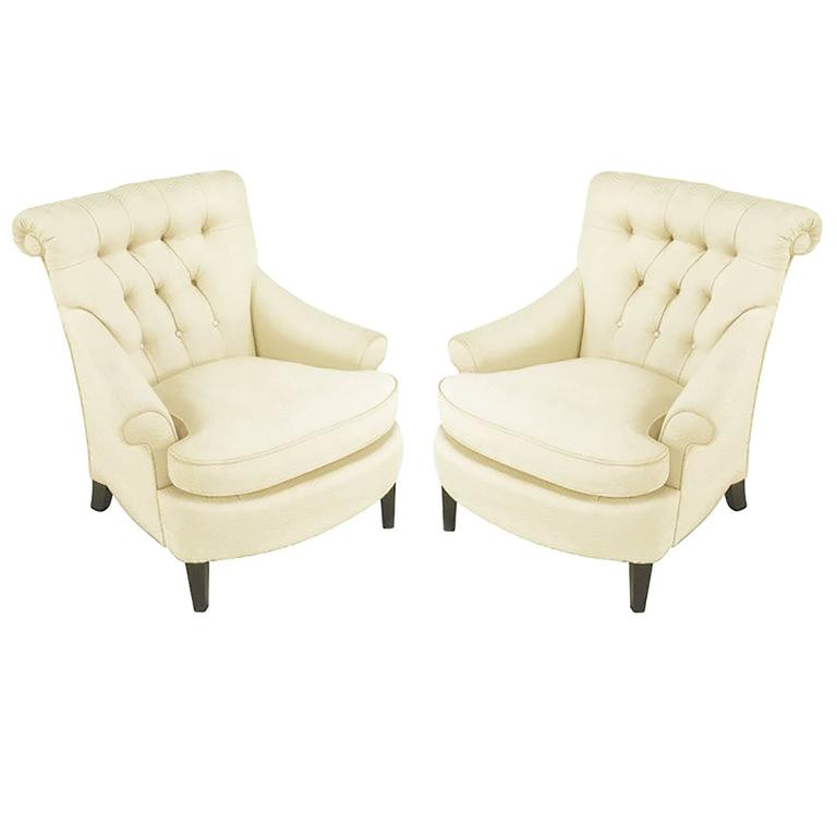 Beau Pair Of Ivory Silk Blend Button Tufted Rolled Back Lounge Chairs