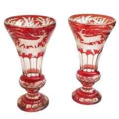 German-Czech Bohemian Pair of Ruby Red and Clear Glass Mantel Vases