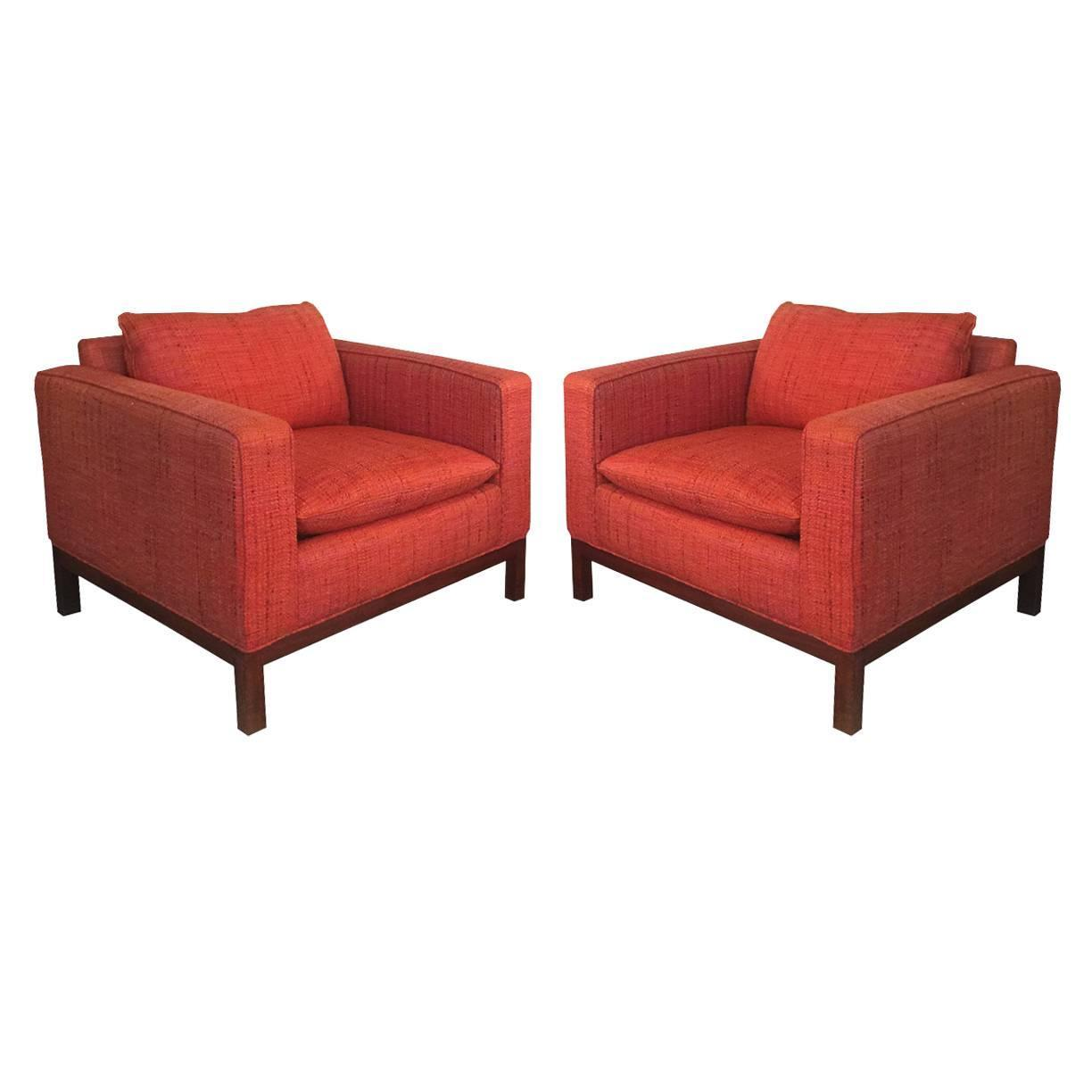 Pair of Orange Tweed Cube Club Chairs at 1stdibs