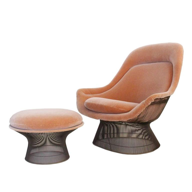 Bronze Lounge Chair And Ottoman By Warren Platner For
