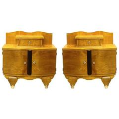 Pair of Art Deco French Bedside Table Cabinets Attributed to Jean Pascaud