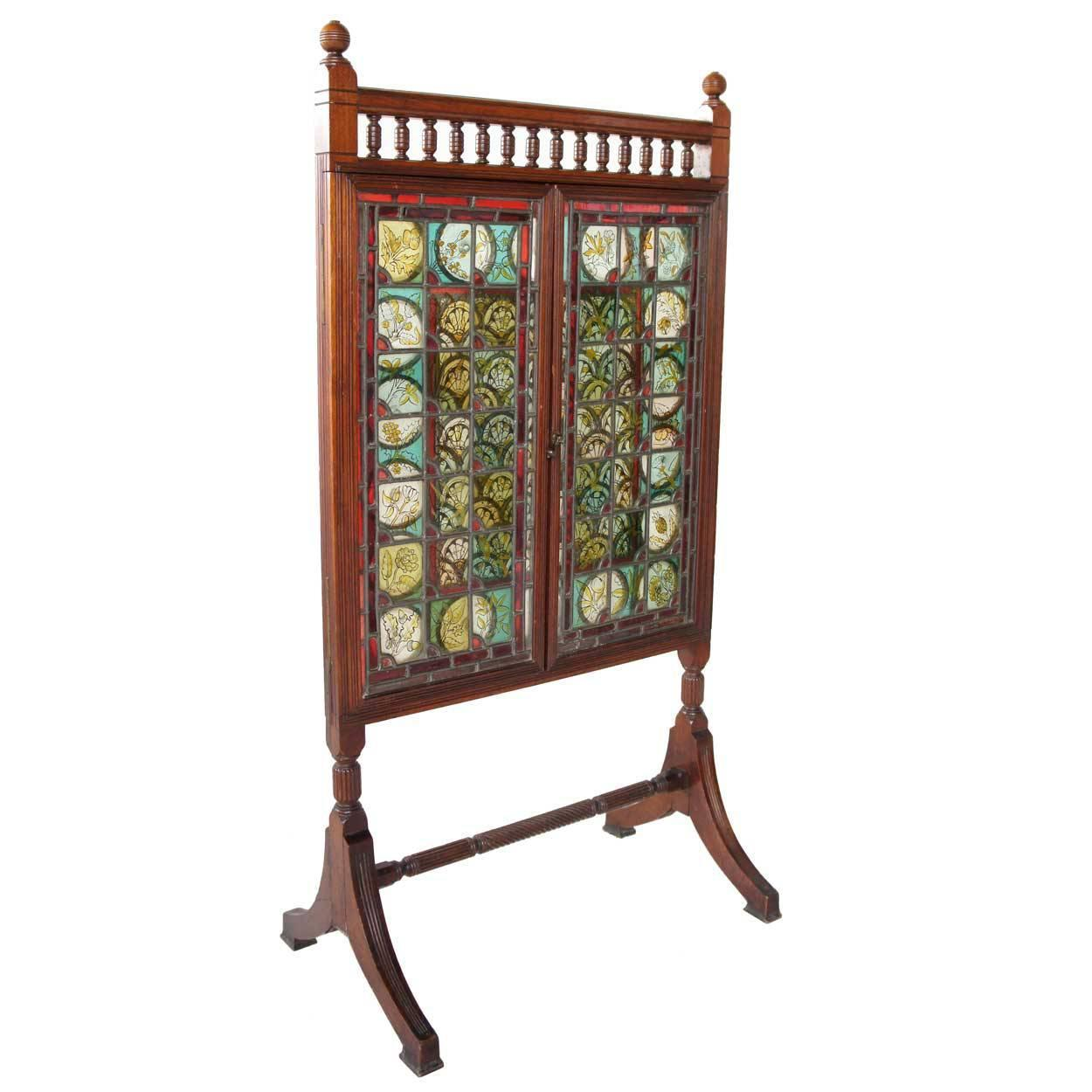 English Cox And Sons Arts And Crafts Stained Glass And Walnut Fireplace Screen At 1stdibs