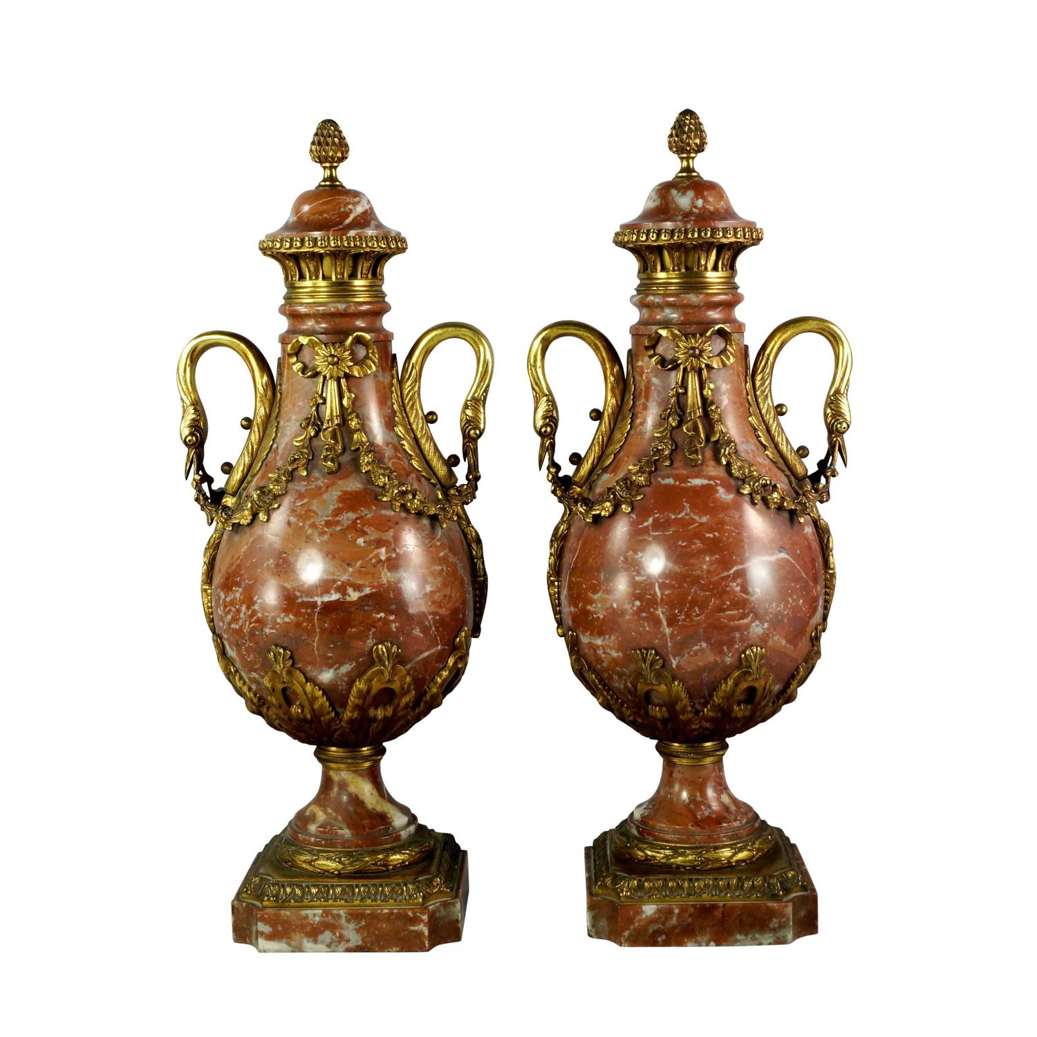Pair Of Louis Xvi Style Ormolu Mounted Marble Vases For