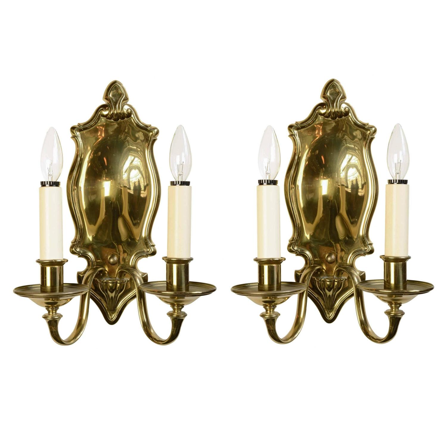 Signed bradley and hubbard colonial revival brass sconce pair for signed bradley and hubbard colonial revival brass sconce pair for sale at 1stdibs arubaitofo Image collections