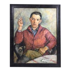 Seated Portrait Oil on Board, William Myerowitz, 1940s, Usa