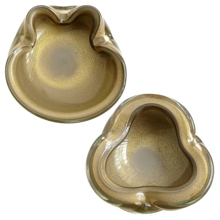 Alfredo Barbini Murano Gray Gold Flecks Italian Art Glass Folded Rim Bowls