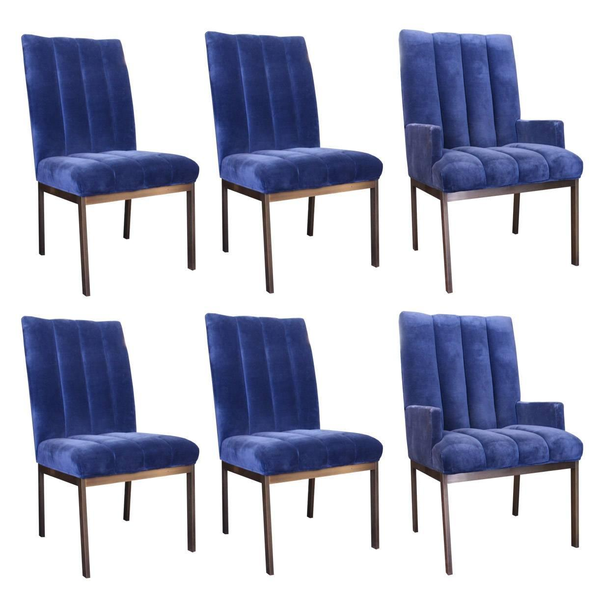 set of six velvet dining chairs by dia at 1stdibs