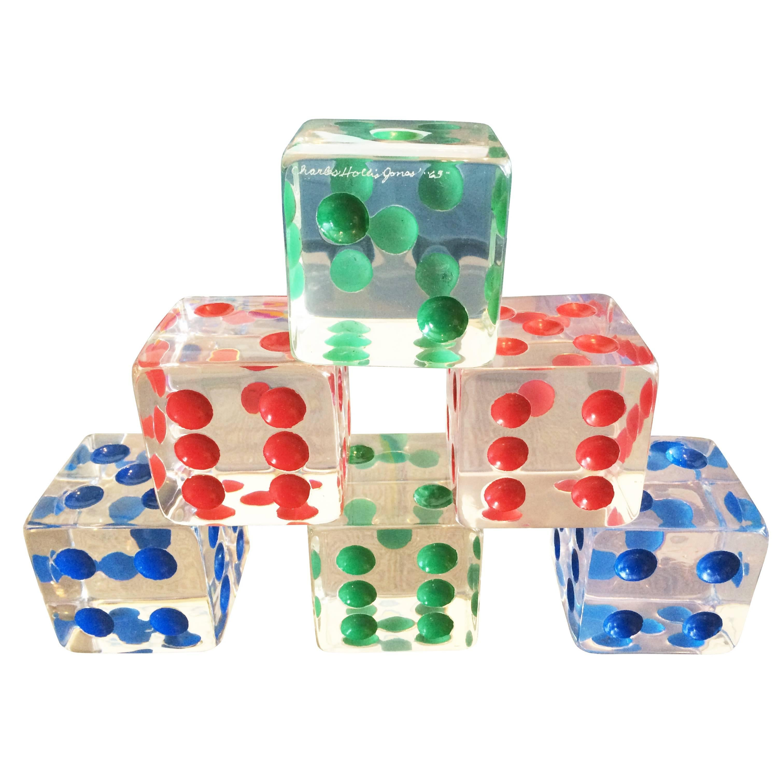 Oversized Dice Sculpture in Lucite by Charles Hollis Jones, Signed and Dated