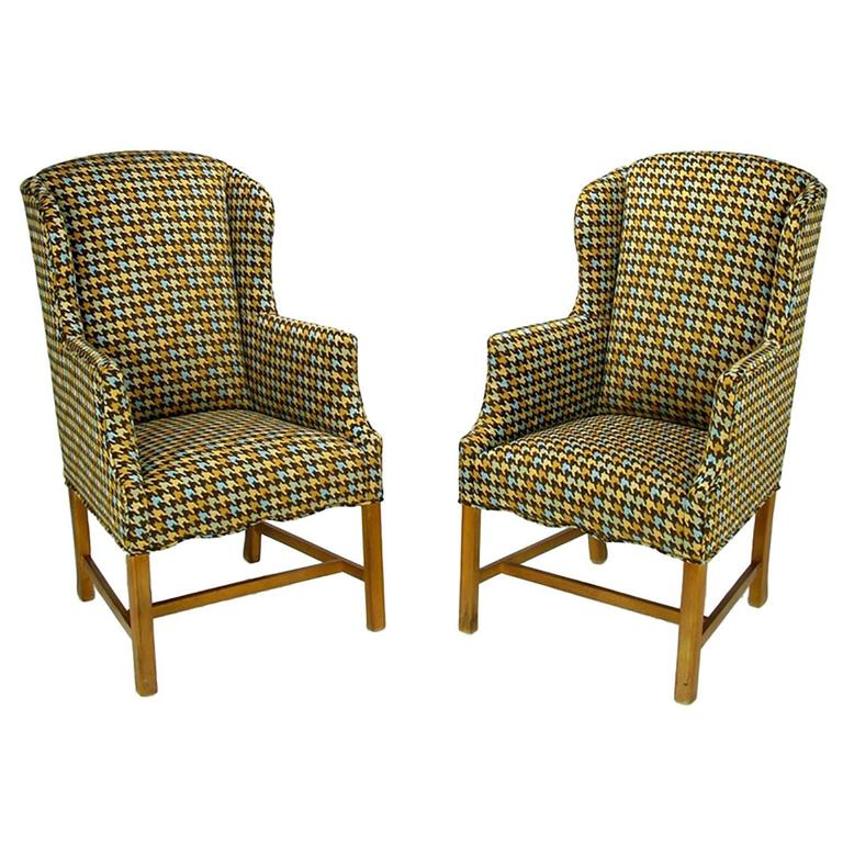 Pair of 1940s Wing Chairs in Colorful Overscaled Houndstooth Wool
