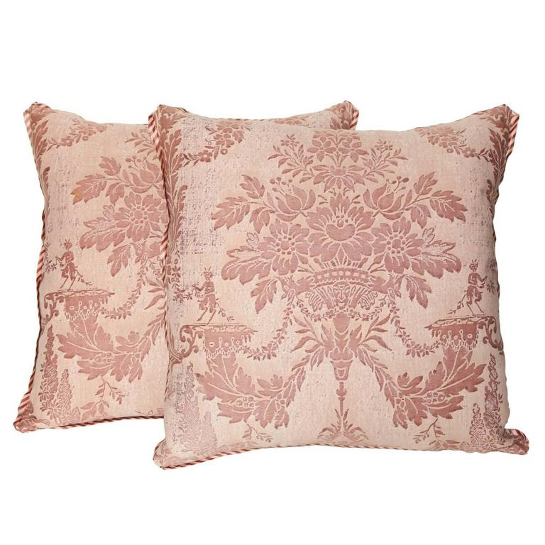 Pair of Vintage Fortuny Fabric Cushions in the Boucher Pattern 1