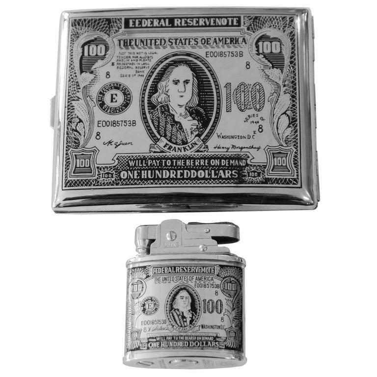 100 Bill Cigarette Case And Lighter At 1stdibs