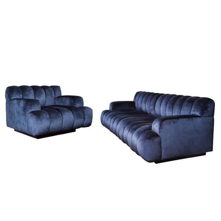 Channel Quilted Sofa and Chair by Steve Chase For Sale at