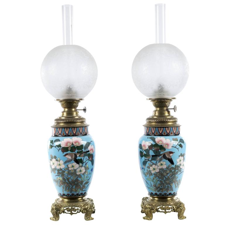 Pair Of Meiji Cloisonné Lamps With French Ormolu Fittings For Sale