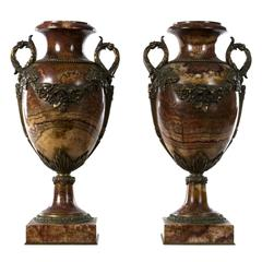 Pair of Napoleon III Marble and Ormolu Cassolettes