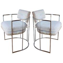 Pair of Milo Baughman Barrel Chairs