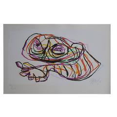 """Karel Appel """"Resting Frog"""" Screen Printed in Colors, Dated and Signed"""