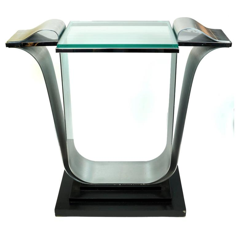 Attractive Unusual Midcentury Glass And Metal Console Table On Wooden Base 1 Pictures Gallery