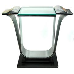 Unusual Midcentury Glass and Metal Console Table on Wooden Base