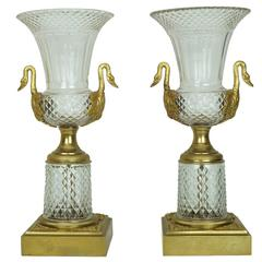 Pair of Crystal and Bronze Vases with Swan Handles
