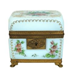 A French White Opaline Jewelry Box with Painted Floral Decorations