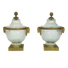 Pair of Crystal and Bronze Covered Centerpiece Bowls with Rams Head