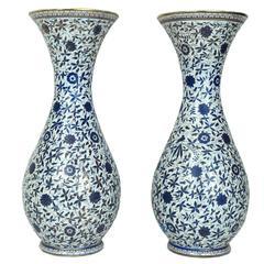 Beautiful Pair of Turkish Iznik Design Blue and White Porcelain Flower Vases