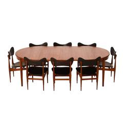 Danish Modern Dining Table with Eight Dining Chairs