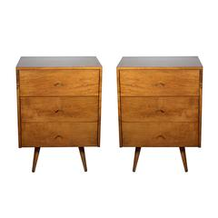 Pair of Mid-20th Century Three Drawer Nightstands