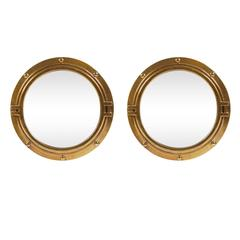 Hollywood Regency Brass Color Porthole Wall Mirrors