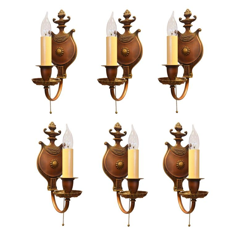 Cast Bronze Single Candle Neoclassical Sconce Set